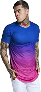 URIBAKE Men Contrast Color Gradient Print Summer T-Shirts Neck Short Sleeve Casual Pullover T-Shirt Top Tees
