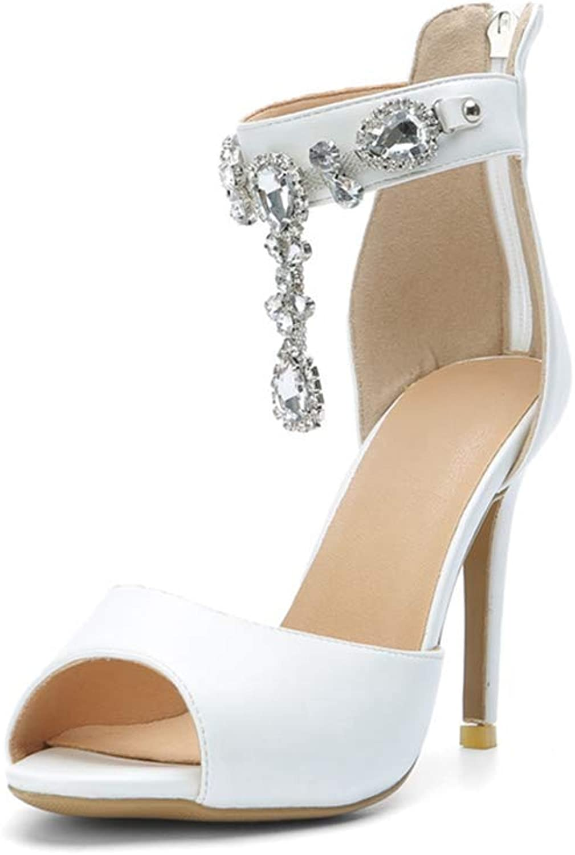 Lady Party Heeled Sandal Summer Sandals Rhinestone Peep Toe Shallow Women Sweet Single shoes