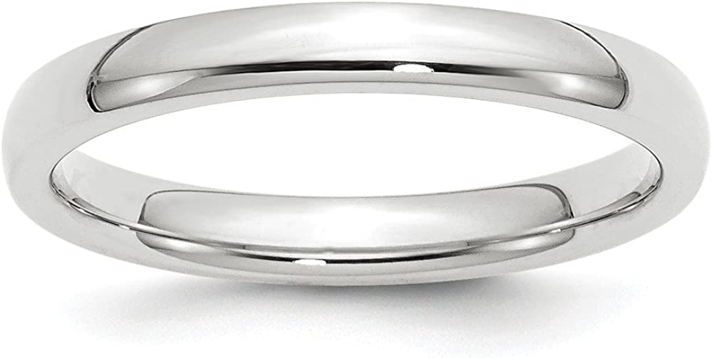 Solid 14k White Gold 3mm Comfort Fit Plain Classic Wedding Band Ring