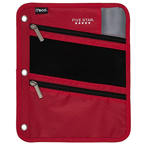 Five Star Zipper Pouch, Pencil Pouch, Pen Holder, Fits 3 Ring Binders, Red / Gray (50642BE7) Photo #2