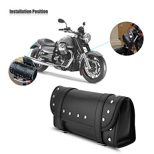 Dlll sella borsa nera in pelle PU motocicletta anteriore posteriore forcella strumento borsa manubrio borse bagagli bisaccia per Yamaha Honda Kawasaki Suzuki Harley Davidson Sportster Softail Dyna
