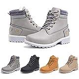 Botas Mujer invierno Botines Nieve Zapatillas Trekking Calentitas Boots Cordones Zapatillas Planas AntideslizanteCasuales Gris Talla 40 EU