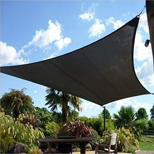 WAFWYY zonnezeil met vier hoeken, waterdicht en scheurvast en duurzaam, geschikt voor zonneschermen in de auto (bogen, vierkant, rechthoekig) 3x3m (9x9ft) square Donker Groen
