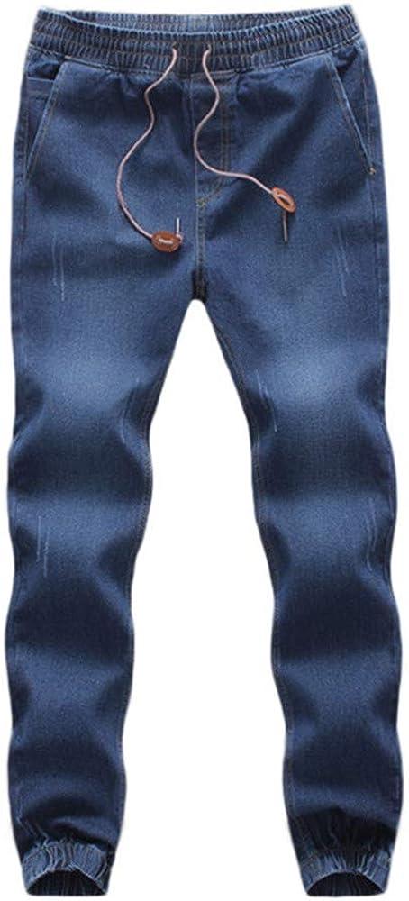 Vaqueros Straight para Hombre Originales Talla Grande Slim fit Pantalones de Mezclilla Casual Rectos Suelto Denim pantalón con cordón Baggy Pantalones Jeans