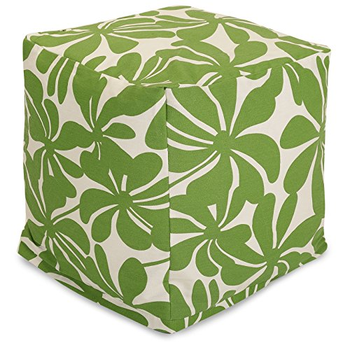 "Majestic Home Goods Sage Plantation Indoor/Outdoor Bean Bag Ottoman Pouf Cube 17"" L x 17"" W x 17"" H"