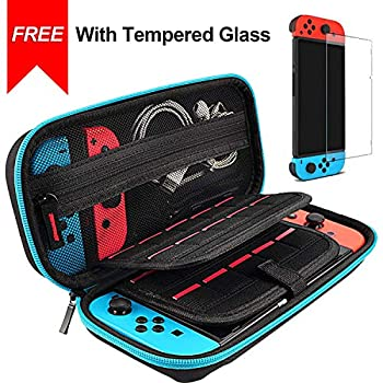 Hestia Goods case for Nintendo Switch Case and Tempered Glass Screen Protector Deluxe Hard Shell Travel Carrying Case Hard Pouch Case for Nintendo Switch Console & Accessories Streak Teal