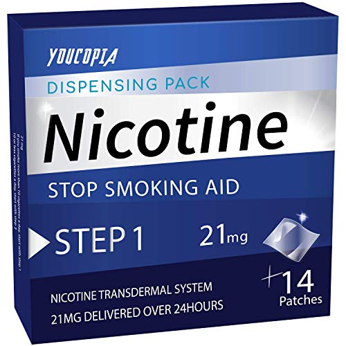 YouCopia Nicotine Transdermal System Stop Smoking Aid Patches, Quit Smoking Patches, with Smart Controlled Release Technology, 21milligram Delivered Over 24 Hr - each 14