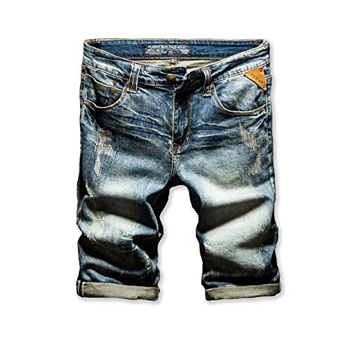 Pantalones Vaqueros para Hombre Primavera y Verano Pantalones de Mezclilla Rasgados Europeos y Americanos Pantalones Cortos Delgados de Marea elástica Retro 32