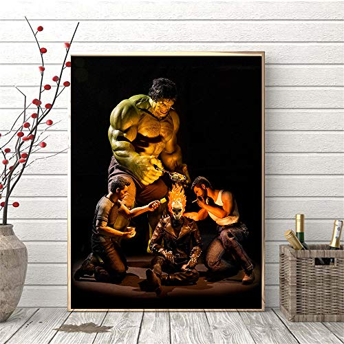 YuanMinglu Helden geheimes Leben Nordic Poster Riese, Fledermaus, Witwe Held Wandbild für Wohnzimmer Wohnkultur Kinderzimmer Drucke Rahmenlos 40X50cm