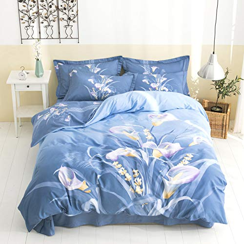 Duvet Cover Set,King Size Pure Cotton Four-piece Set Cotton Printed Bed Sheet, Quilt Cover, Pillowcase, Double Household Bedding Set