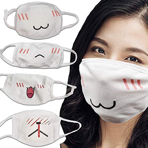 MASKGUARD Kpop Reusable Kawaii Anime Face Mask - Washable Mouth Cover for Anti Dust, Great for Outdoors, Sun Protection, Riding, Cosplay, Airplanes, Travel (4pcs Anime Pack White)