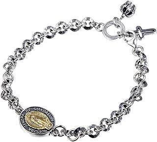 Men Women's 925 Sterling Silver Bracelet Virgin Mary Prayer Religious Bracelet With Cross Pendant, Great Gift Exclusive Fr...