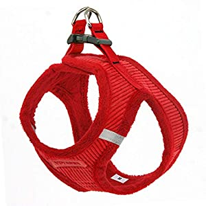 """Voyager Step-In Plush Dog Harness – Soft Plush, Step In Vest Harness for Small and Medium Dogs – By Best Pet Supplies - Red Corduroy, Medium (Chest: 16"""" - 18"""")"""
