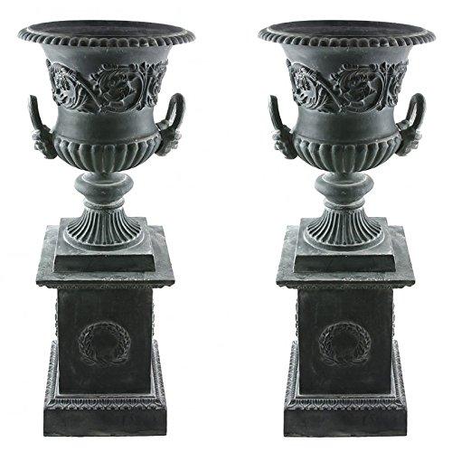 L'Héritier Du Temps Paire de Vasque et Socle Géant Vase Extérieur de Chateau en Fonte Gris 44x44x111cm