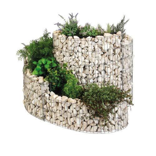 bellissa Gabionen-Kräuterspirale Komplettset - 95606 - Steinkorb-Kräuterschnecke als Set inkl. Steine - fertig montiert mit Trennfolie - 110 x 90 x 20/60 cm