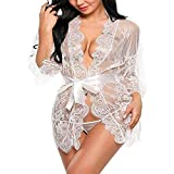 XinFeng Lencería Sexy Cinturón De Encaje De Pestañas Túnica De Manga Larga Pijama Atractivo Conjunto De Albornoz De Mujer 白色 L