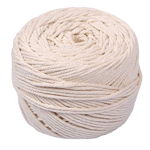 UCEC手芸ひも 3mm×200m 綿糸 手芸コード 手作りコットン紐 マクラメロープ 鉢植え装飾、壁掛け、インテリア、編み物、DIY装飾などに
