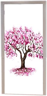 A.Monamour Pink Cherry Blossom Tree Sakura Drawing Sketch Watercolor Painting Abstract Background Print Vinyl Room Door Decals Wallpaper Wall Murals Removable Door Stickers Posters Art Decors