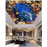 Papel tapiz fotográfico Murales de techo 3D Mundo submarino Acuario Techo de delfines Zenith Mural Fresco de techo Decoración de sala de estar 200X140cm