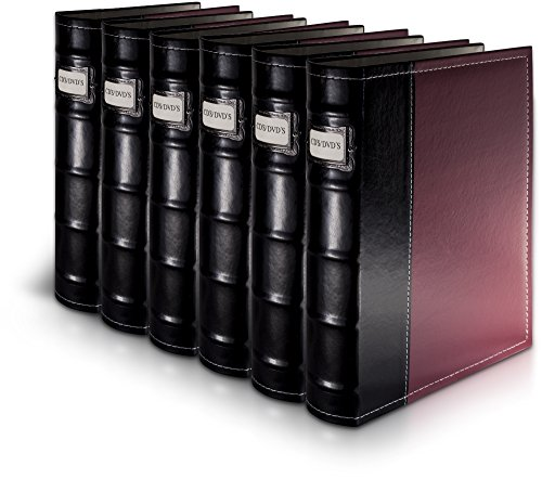 Bellagio-Italia Burgundy DVD Storage Binder Set - Stores Up to 288 DVDs, CDs, or Blu-Rays - Stores DVD Cover Art - Acid-Free Sheets
