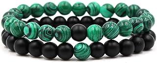 Belons Pulsera elástica de 8 mm para hombre y mujer, malaquita verde y negro mate, ágata, pulsera de energía, juego de 2 u...