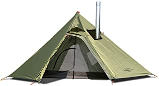 Tipi Hot Tent with Mesh and Fire Retardant Stove Jack for Flue Pipes, Lightweight, 1-3 Person Teepee Tents for Family Team...