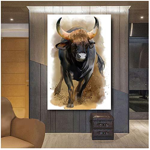 HYFBH Leinwand Wandkunst Bilder Aquarell Stier Tiere HD Wandplakate Druck Leinwand Ölgemälde für Wohnzimmer Wohnkultur 70x100cm (27,6