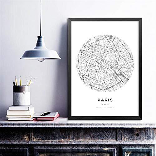 GUDOJK muurschilderij minimalistisch canvas schilderij muurkunst afbeelding stadsschema's decor paar muurkunst afdrukken kaart poster 60x80cm(24x32inch)