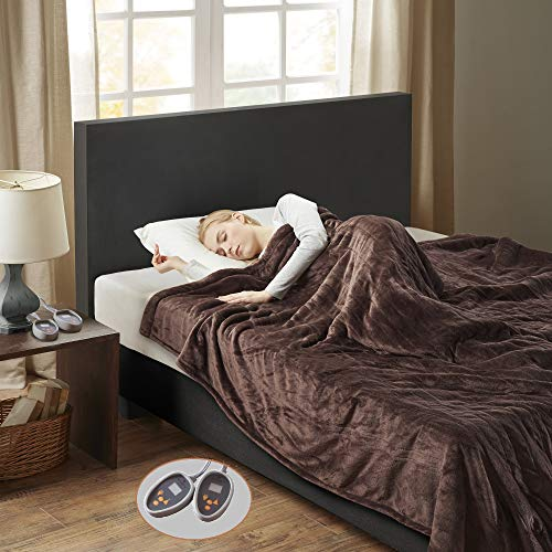 Woolrich Heated Plush to Berber Electric Blanket Throw Ultra Soft Knitted, Super Warm and Snuggly Cozy with Auto Shut Off and Multi Heat Level Setting Controllers, King: 100x90, Chocolate