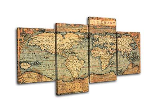 HNBDH Stampe e Quadri su Tela Mappe di Atlante del Vecchio Mondo 4 Pezzi Cascade Canvas Art Print Picture Wall Hanging Frameless 100X160Cm