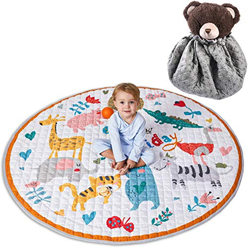 Winthome Baby-Spieldecke Rund, antirutschbeschichtete Baumwoll-Spieldecke mit Spielzeugaufbewahrungsfunktion - waschbare Krabbeldecke 150cm (zoo)