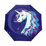 Mr.Lucien Hermoso paraguas plegable de viaje con diseño de unicornio arco iris, resistente al viento, estilo mágico de cuento de hadas compacto, apertura y cierre automático con protección UV 2021741