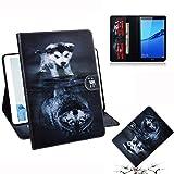 YXCY Coque Horizontale de Cuir Horizontal de Motif de Loup et de Chien pour Huawei MediaPad M5 Lite...