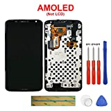 Swark Super AMOLED Compatible with Motorola Google Nexus 6 XT1100 XT1103 (Black) Digitizer Touch Screen Assembly with Screen Frame + Tools