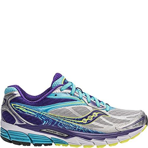Saucony Women's Ride 8 Narrow Running Shoe, Silver/Purple/Blue, 5 N US