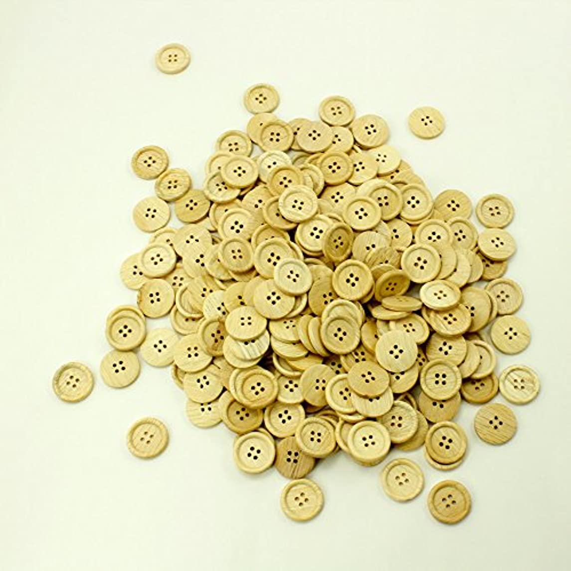PEPPERLONELY Brand 50PC Natural Color 4 Holes Scrapbooking Sewing Wood Buttons 23mm (7/8 Inch)