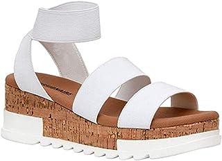 Women's Wedge Sandals Platform Sandals, Platform Elastic Ankle Straps Open Toe Slingback Cork Lightweight Summer Sandal,B,35