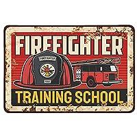 2個 Macucop消防士のブリキの看板、消防士訓練学校の家の壁の装飾の金属プラーク メタルプレート レトロ アメリカン ブリキ 看板