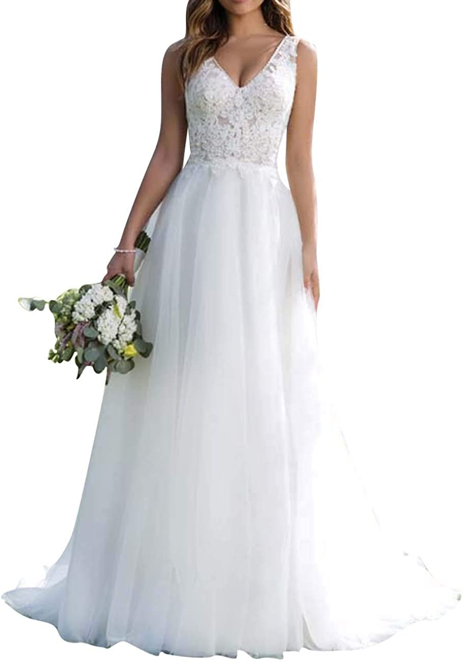 Wedding Dress Beach Lace Bridal Gown V Neck Tulle Bride Dresses Lace Appliques Wedding Dresses