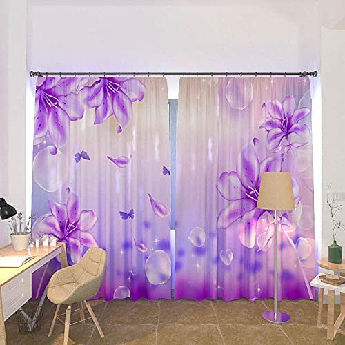 BUFUXINGMA Blackout Curtains 3D Flowers Dew Curtains for Bedroom,Thermal Insulated Curtain Polyester Energy Saving Reduce Noise Curtains for Living Room Children'S Room 110(W) X215(H) Cm * 2 Panel