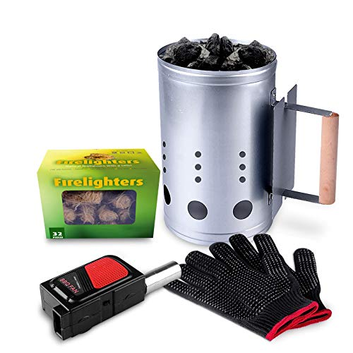 HOMENOTE Rapid Charcoal Chimney Starter Set Fireplace Accessories Lighter Cubes BBQ Heat Resistant Gloves Blower BBQ Tools
