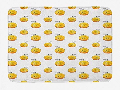 utong Aquarell Badematte Gelbe Äpfel mit Samen Gezeichnet von Hand Plüsch Badezimmer Dekor Matte mit Rutschfester Rückseite Erde Gelb Weiß