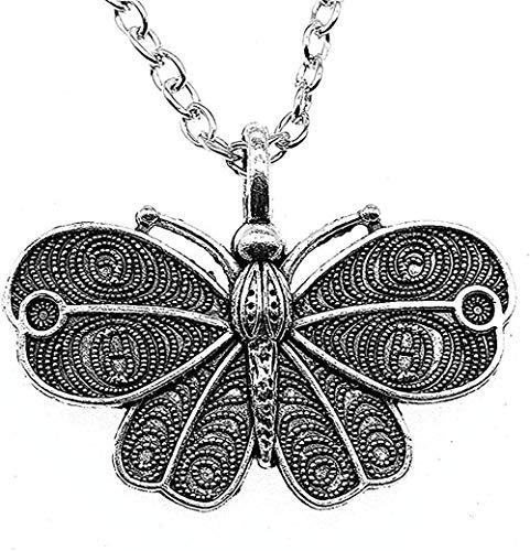 Zaaqio Collar Simple 41X31Mm 45Cm Collar con Colgante de Mariposa para Mujer Regalo Regalo de Color Plata Antigua