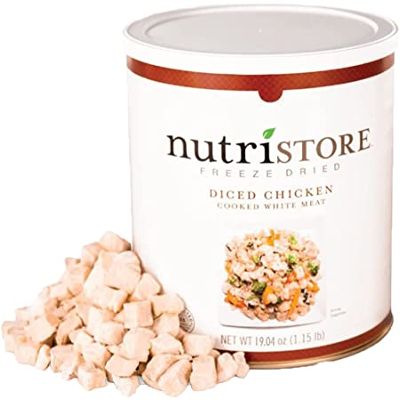 Nutristore Freeze-Dried Chicken | Emergency Survival Bulk Food Storage Meat | Perfect for Lightweight Backpacking, Camping & Home Meals | USDA Inspected | 25-Year Shelf Life