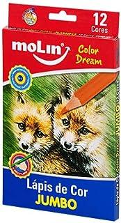 Lápis de Cor Jumbo Color Dream, Blister com 12 Cores, Molin 13065M, Multicor