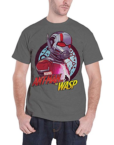 Ant Man And The Wasp T Shirt Circle Comp Ufficiale Marvel Comics Uomo Charcoal Size M