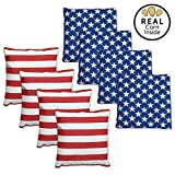 Corn Filled Cornhole Bags - Set of 8 Bright American Flag Bean Bags for Corn Hole Game - Regulation Size & Weight - 4 Stars and 4 Stripes