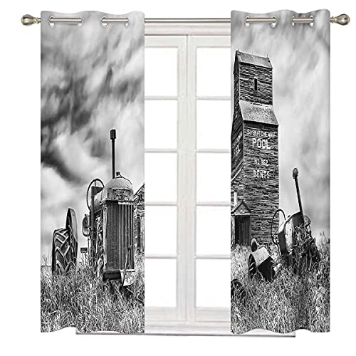 Industrial Noise Cancelling Curtains 96 Inch Long Old Vintage 60s Tractor Thermal Insulated Grommet Curtains for Bedroom Living Room W84 x H96