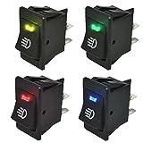 Mintice 4 X 12V bleu jaune vert rouge voiture moto lumière de brume bouton d'éclairage de l'interrupteur à bascule LED 4Pin