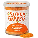 Super Garden zanahoria liofilizada en polvo - Producto 100% puro y natural - Apto para veganos - Sin azúcares, aditivos artificiales ni conservantes añadidos - Sin gluten - No OMG